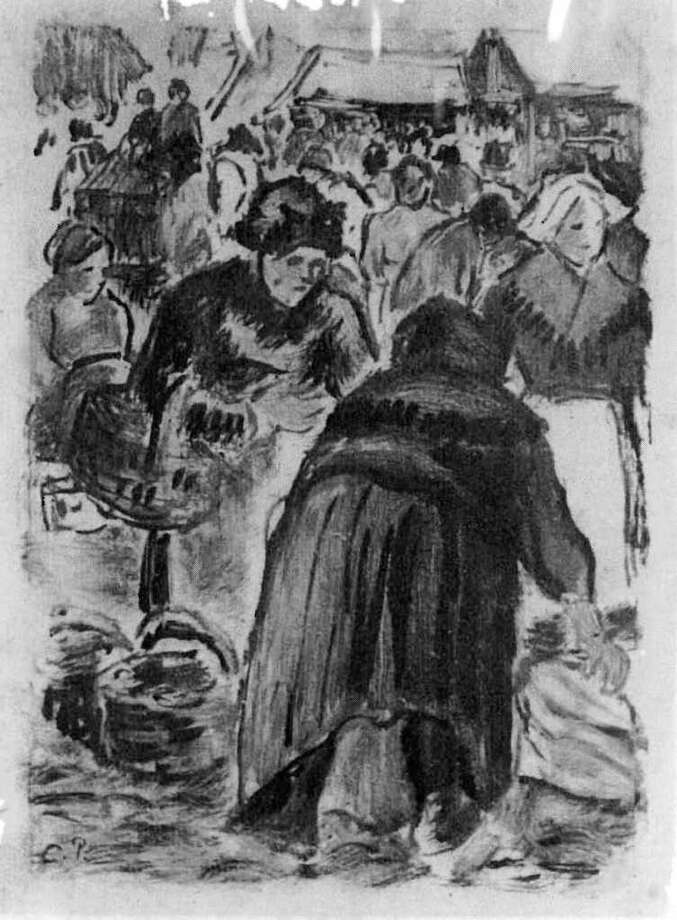 "U.S. Immigration and Customs Enforcement officials at a ceremony in Washington transferred to French authorities ""Le Marché de Poissons"" (The Fish Market), a painting by French impressionist Camille Pissarro.  Authorities say the stolen work was sold in San Antonio. Photo: Courtesy Image / HANDOUT"