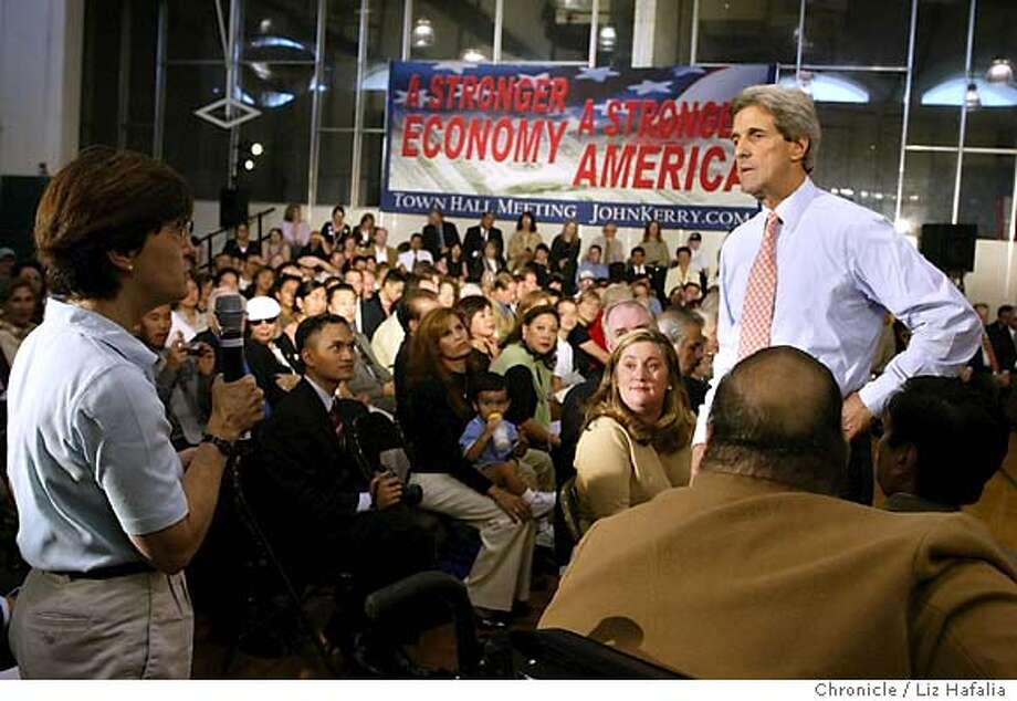 John Kerry visits a group at Westmoor High School in Daly City to discuss a plan to implement strong consumer protections to help families from sudden price jumps, predatory lending and consumer crime. Shot on 8/27/04 in Daly City. LIZ HAFALIA / The Chronicle Photo: LIZ HAFALIA
