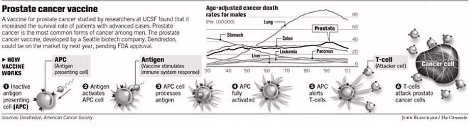 Prostate cancer vaccine. Chronicle Graphic by John Blanchard
