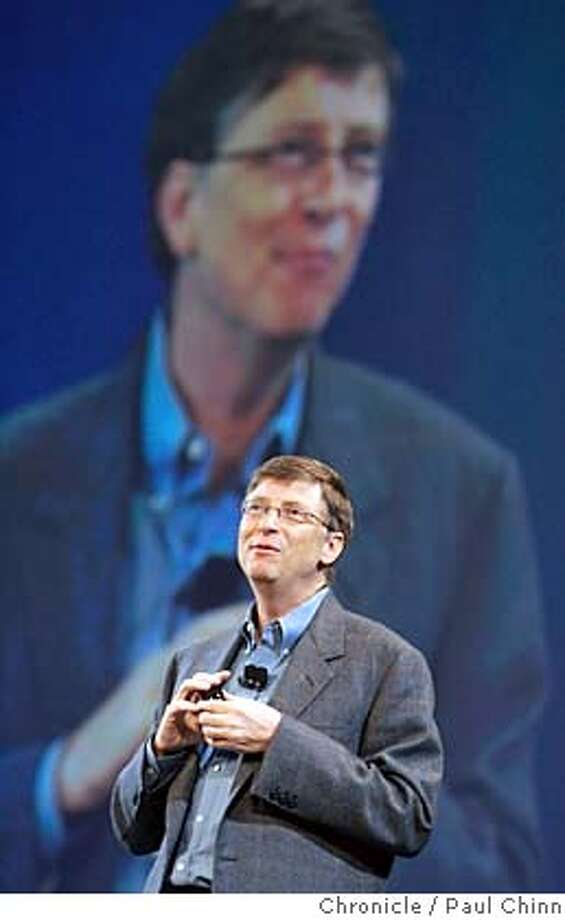 rsa16_133_pc.jpg  Microsoft chairman Bill Gates delivers the keynote address at the annual RSA Conference at Moscone Center on 2/15/05 in San Francisco, CA.  PAUL CHINN/The Chronicle MANDATORY CREDIT FOR PHOTOG AND S.F. CHRONICLE/ - MAGS OUT Photo: PAUL CHINN