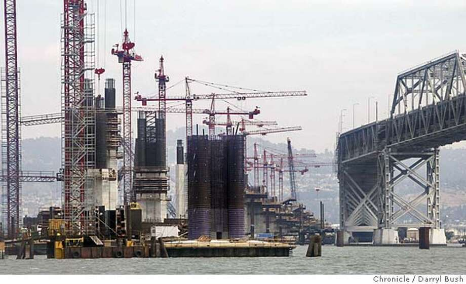 Construction of the new East span of the Bay Bridge as seen from a boat looking East. 8/19/04 in San Francisco Bay  Darryl Bush / The Chronicle Photo: Darryl Bush