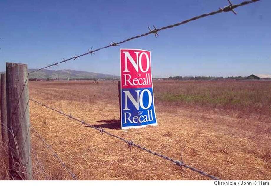 Rohnert park. Stony Point rd. Location of possible casino.  Signage against recall Photo: John O'Hara