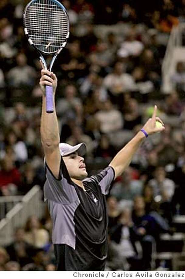 TENNIS_012_CAG.JPG  Andy Roddick reacts to winning the final point in the second game against Cyril Saulnier at HP Pavilion in San Jose, Ca., during the SAP Open finals match on Sunday, February 13, 2005. Roddick won the match and the tournament 6-0, 6-4.  Photo taken on 02/13/05, in San Jose, Ca. Photo by Carlos Avila Gonzalez/The San Francisco Chronicle MANDATORY CREDIT FOR PHOTOG AND SF CHRONICLE/ -MAGS OUT Photo: Carlos Avila Gonzalez