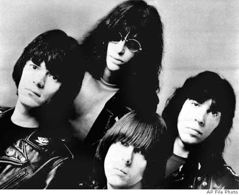 FILE--Members of the rock group the Ramones are shown in this February 1982 file photo. Singer Joey Ramone, top left, he punk rock icon whose signature yelp melded with the Ramones' three-chord thrash to launch an explosion of bands like the Clash and the Sex Pistols, died Sunday. Ramone was hospitalized in March 2001 with lymphoma. He was 49. (AP Photo/File) ALSO RAN 06/06/02 ALSO RAN 07/17/03