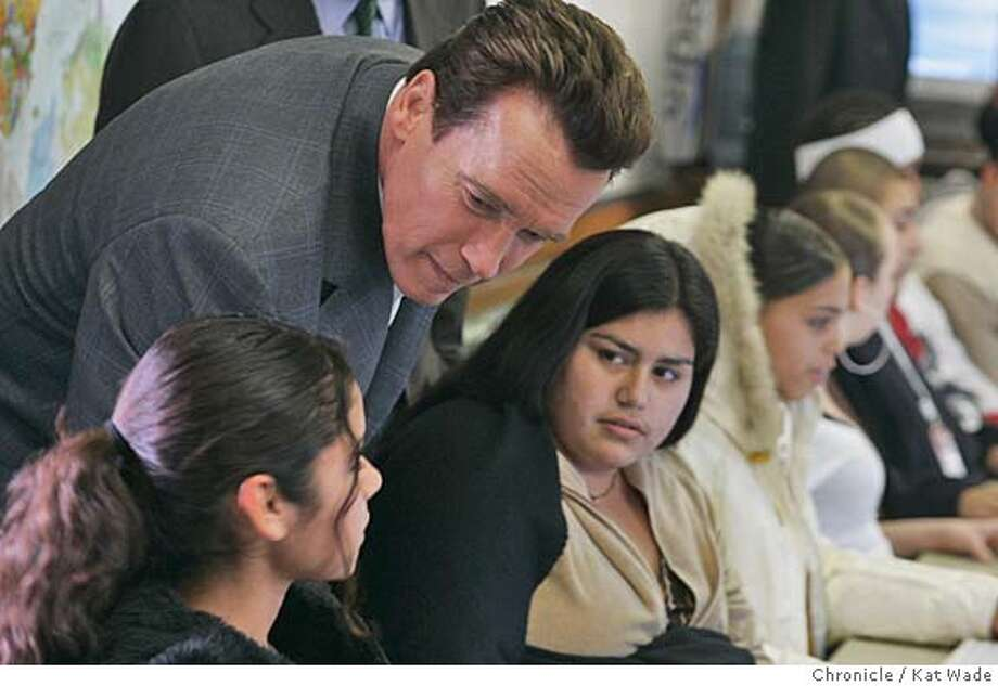 GOVERNOR_069_KW.jpg  On 2/7/05 in Concord Governor Arnold Schwarzenegger talks with students (L to R) Claudia Machado, 17, Bibiana Tovar, 18, Equella Hearne, 17, while they work at computers in the Digital Safari class at Mt. Diablo High School when Schwarzenegger toured the school to highlight his vocational education proposals Monday afternoon. Kat Wade / The Chronicle MANDATORY CREDIT FOR PHOTOG AND SF CHRONICLE/ -MAGS OUT Photo: Kat Wade