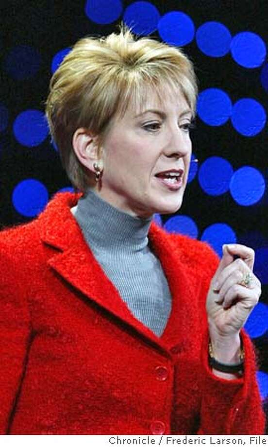 FIORINA_099_fl.jpg �HP CEO Carly Fiorina at Oracle World at the Moscone Center in SF along with Oracle Prez Charles Philips. 12/6/04 San Francisco CA Frederic Larson  The San Francisco Chronicle Photo: Frederic Larson