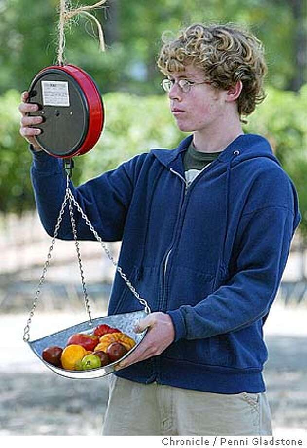 Rutherford Garden farm stand sells tomatoes and figs. Weighing heirloom tomatoes. Cooper Kenward age 15, works at this farm stand on this Sunday. 8/22/05 in St. Helena.  Penni Gladstone / The Chronicle Photo: Penni Gladstone