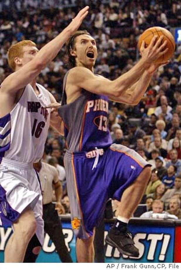 Phoenix Suns guard Steve Nash drives to the hoop past Toronto Raptors forward Matt Bonner (16) during first half NBA action in Toronto on Sunday Jan. 30, 2005. (AP Photo/Frank Gunn,CP) Photo: FRANK GUNN