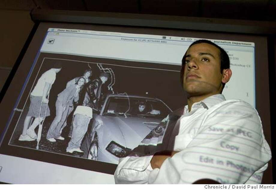 SAN FRANCISCO - FEBRUARY 11: Omar Vega stands in front of an image during a press conference at San Francisco State University on Friday February 11, 2005 about the burglary charges related to a crime he photographed. (Photo by David Paul Morris/The Chronicle) Photo: David Paul Morris