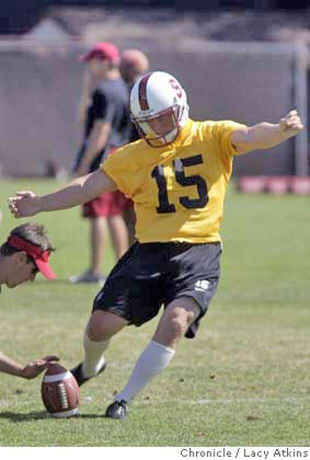 STANFORD FOOTBALL KICKER Michael Sgroi  AT PRACTICE IN STANFORD, AUG.23, 2004.  Stanford football, pre=season practice. Please get shots of several players, including OL Jeff Zuttah #63; OL Alex Fletcher #60; K Michael Sgroi #15; QB Kyler Matter #11; QB Trent Edwards #5; WR Mark Bradford #4;WR Evan Moore #8; RB Kenneth Tolon #26; defensive guy w/ last name of Atogwe #21; also coach Buddy Teevens and asst coach Ken Margerum, Aug23, 2004.  LACY ATKINS/ The Chronicle Photo: LACY ATKINS