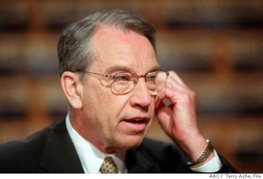 Sen. Charles Grassley, R-Iowa, talks with reporters during the taping of 'This Week' at the ABC studios in Washington Sunday, May 13, 2001. (AP Photo/ ABC, Terry Ashe) ALSO RAN 5/23/02; 05/08/03 muglet; CAT Photo: TERRY ASHE