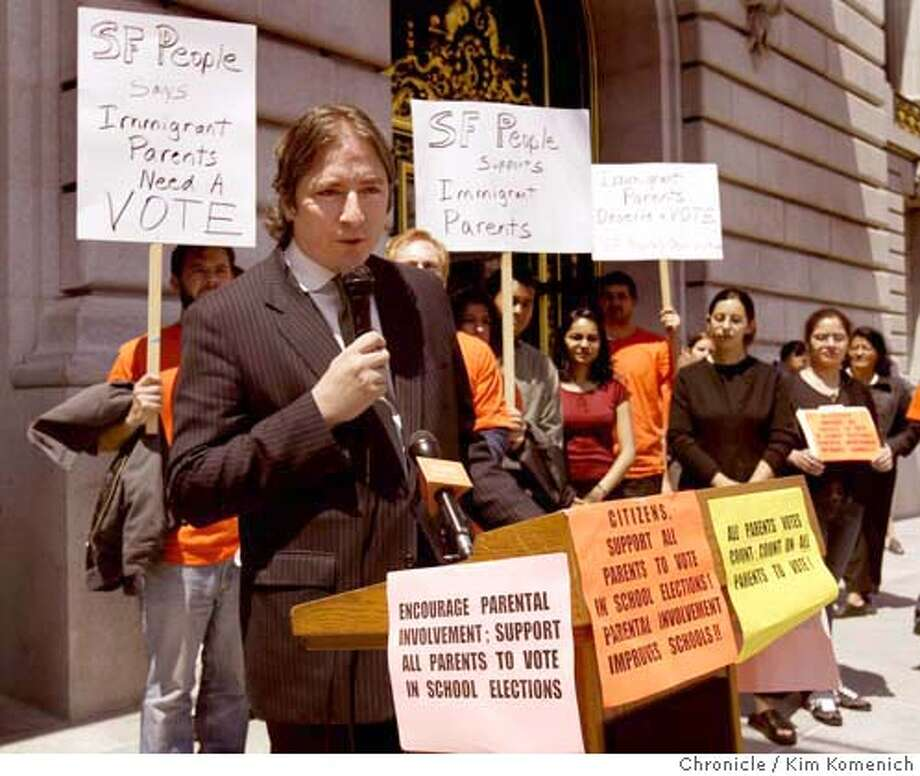 Board of Supervisors President Matt Gonzalez wsa the final speaker at the press conference.  Press conference announces the formation of a coalition which will launch the campaign for voting by immigrant parents in San Francisco school board elections. Supervisors, Gonzalez, Dufty, Ammiano in attendance.  Photo by Kim Komenich in San Francisco Photo: Kim Komenich