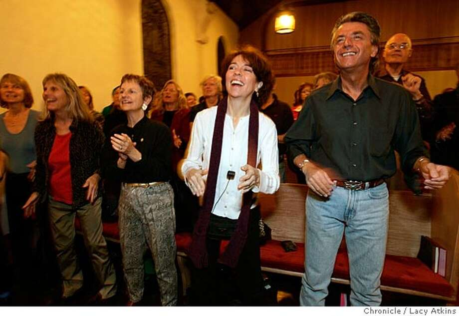 Members of the Lighthouse Singers of Marin, one of the first white gospel musical group rehearse for their 25th anniversary reunion concert, at the First United Methodist Church in San Rafael, Thursday Feb. 3, 2005. Lighthouse Singers has lifted the spirits of audiences all over the U.S. and overseas with its joyous gospel song. Thursday night is its penultimate rehearsal before the chorus's performance. LACY ATKINS/SAN FRANCISCO CHRONICLE Photo: LACY ATKINS
