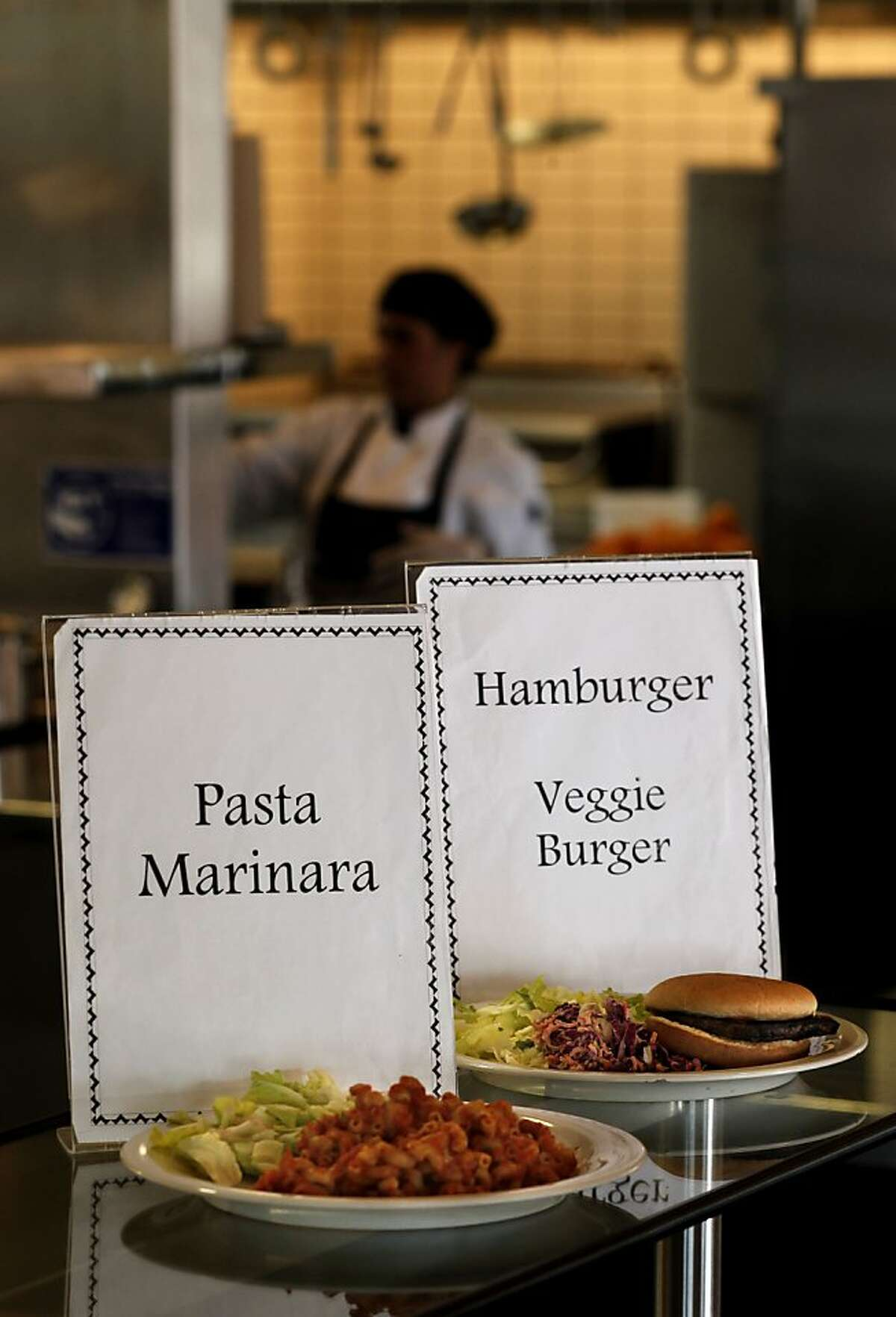 Today's special, Pasta Primavera, Beef or Veggie Burgers for lunch at Martin Luther King Jr. Middle School in Berkeley, Ca., on Wednesday January 25, 2012. The Federal government announced today new school lunch regulations.