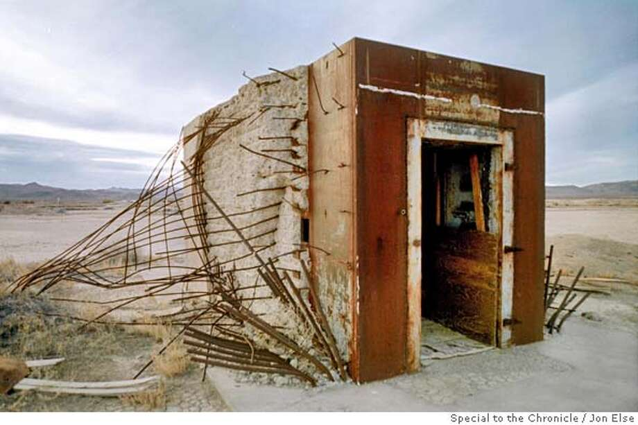 Bank vault left standing in a southern Nevada desert after nuclear test explosion in 1957.