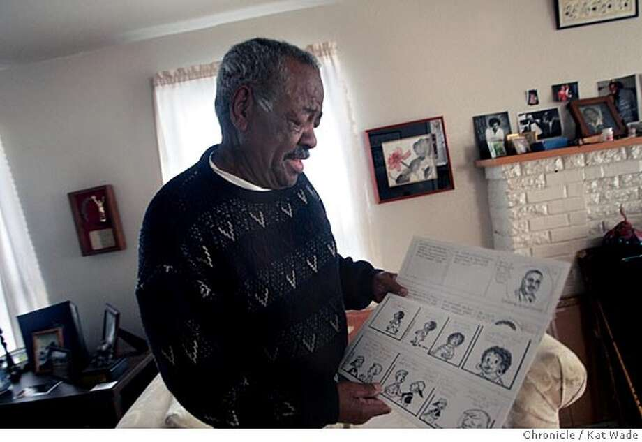 "On 2/7/05 in Berkeley Morrie Turner, 81, who was the first black syndicated cartoonist shows off a current Wee Pal strip that will be published six weeks from now. Turner works at home in the house his parents bought in 1942. His cartoon ""Wee Pals,"" was first syndicated 40 years ago on February 12, 1965. Turner still maintains regular studio hours and has recently created the book ""Super Sistahs,"" Kat Wade / The Chronicle Photo: Kat Wade"