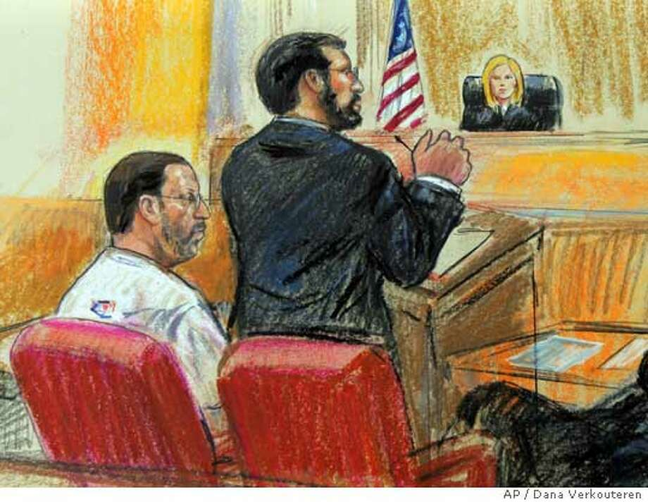 An artist's rendering shows Abelhaleem Hasan Abdelraziq Ashqar (left) of Alexandria, Va., and his attorney Ashraf Nubani appearing before U.S. Magistrate Theresa Buchanan in Alexandria, Va. Associated Press photo by Dana Verkouteren