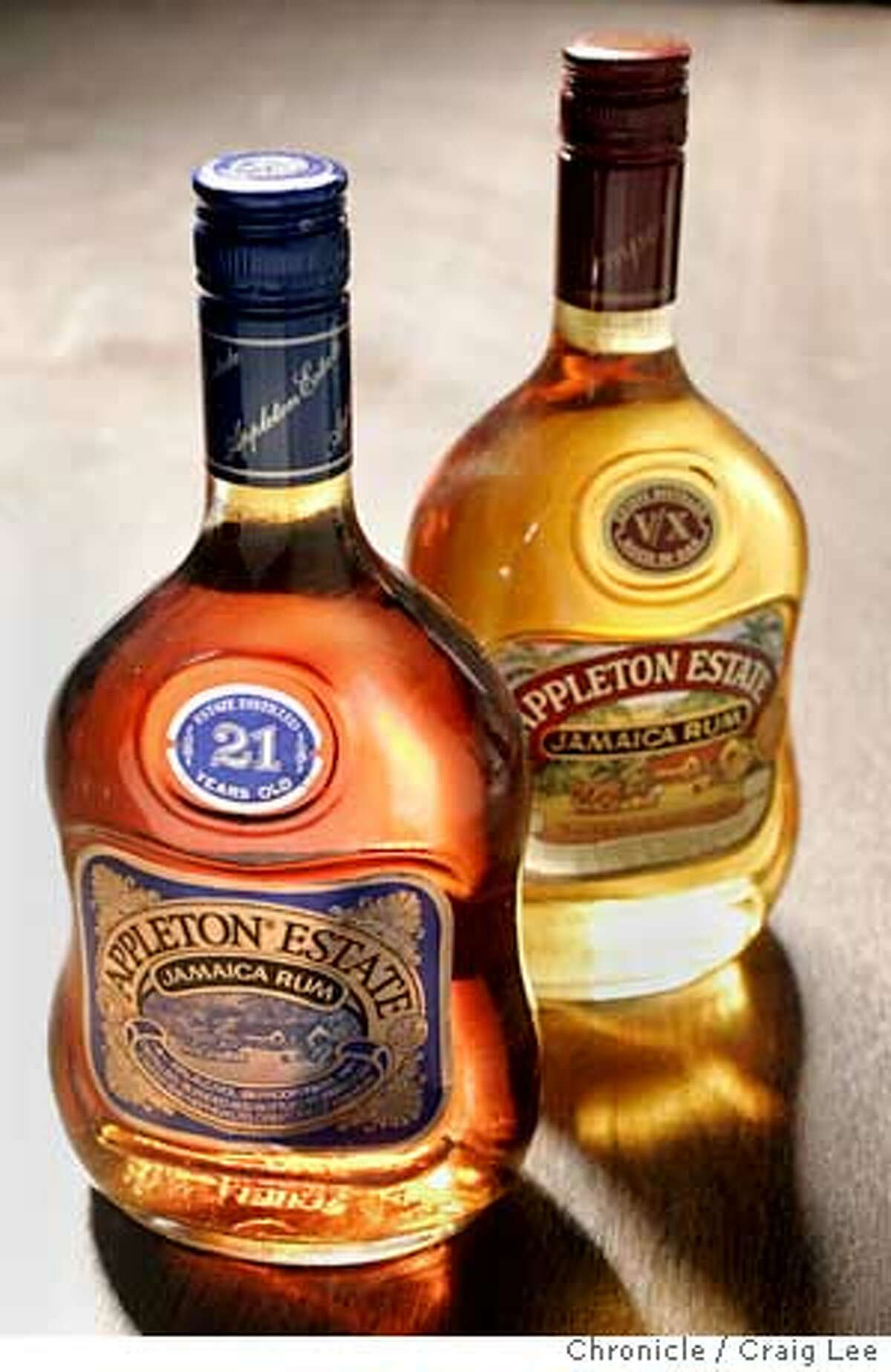 For a Spirits column on rum. Photo of Appleton Estate VX Jamaica Rum (right) and Appleton Estate 21-Year-Old Jamaica Rum (left). Event on 10/1/04 in San Francisco. Craig Lee / The Chronicle