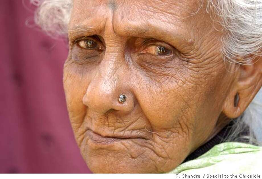 ElderlyXXc.JPG Anjuvam Kaliappu, 90, who is living in a temporary shelther in Naagur Ariyanattu Melatheru, a village in Nagapattinam, the region hardest hit by the tsunami in India. Kaliappu was rescued from the tsunami by her grandsons, who handed her off from one to another until she reached higher ground. Photo by R. Chandru/Special to The Chronicle MANDATORY CREDIT FOR PHOTOG AND SF CHRONICLE/ -MAGS OUT Photo: R. Chandru
