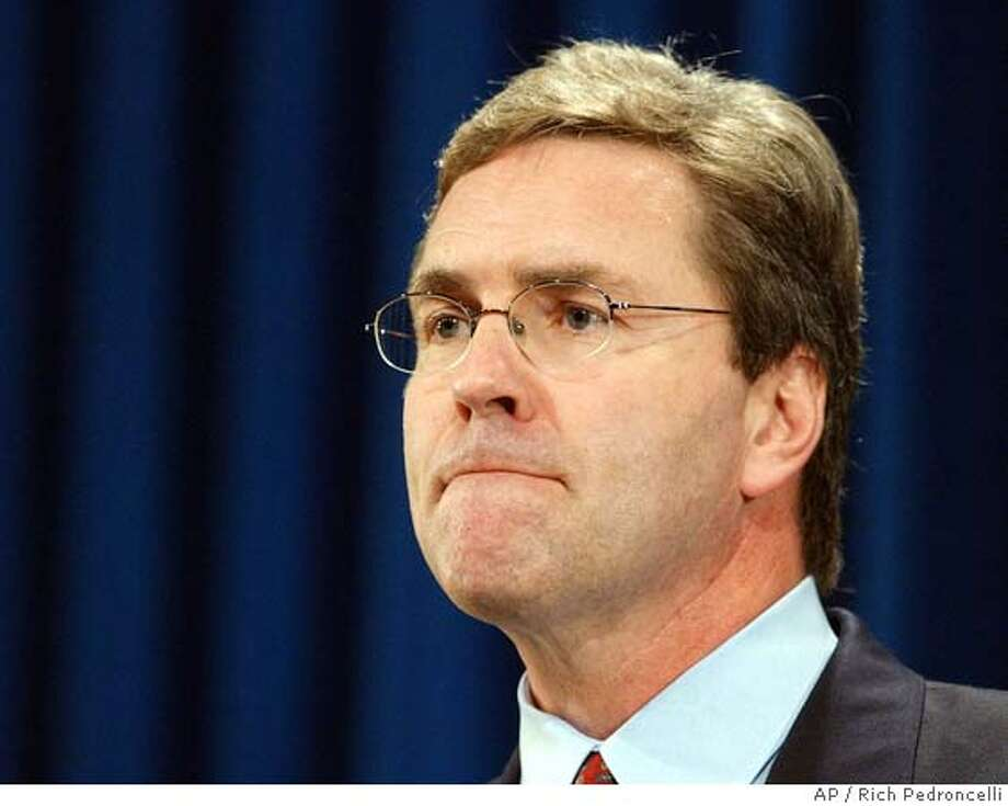 A grim-faced Secretary of State Kevin Shelley listens to a question where he annouced he was banning the use of touch screen voting machines in four California counties in the November election, during a news conference Friday, April 30, 2004 in Sacramento, Calif. Shelley cited concerns about the security and reliability of new computerized voting machines manufactured by Texas-based Diebold Election systems. Saying the lack of a paper trail makes them unreliable, Shelley threatened to block comoputerized voting in 10 other counties.(AP Photo/Rich Pedroncelli) Nation#MainNews#Chronicle#08/08/04#ALL#5star#a1#0421742794 Ran on: 08-12-2004  Secretary of State Kevin Shelley has called for an investigation. Metro#MainNews#Chronicle#08/08/04#ALL#5star#a1#0421742794 Photo: RICH PEDRONCELLI