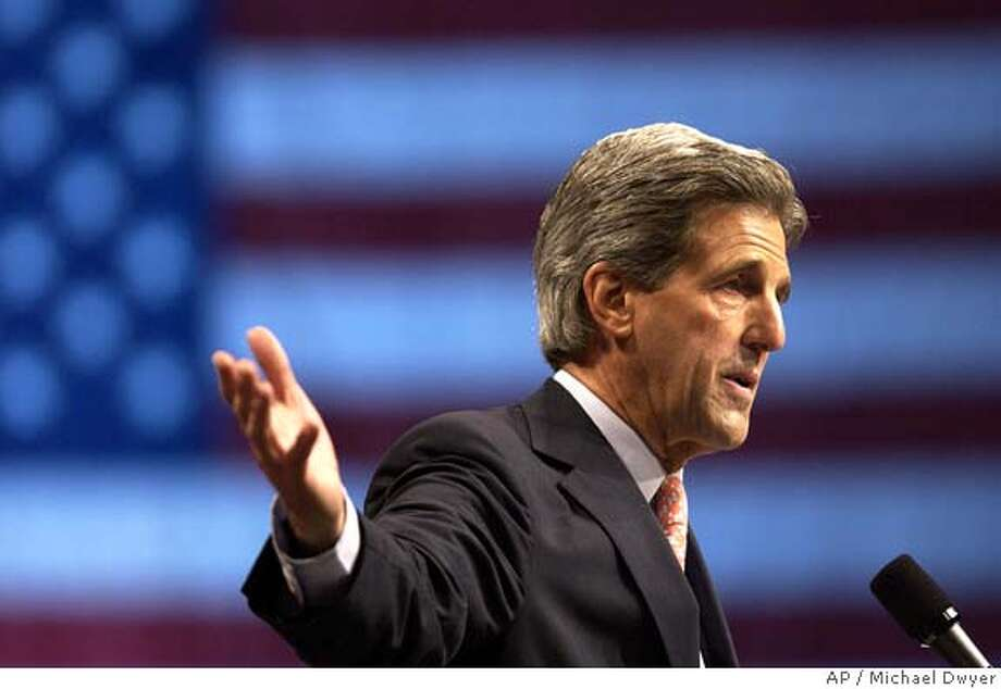 Democratic presidential nominee, Sen. John Kerry, D-Mass., speaks to the International Association of Fire Fighters' 47th Biennial Convention in Boston on Thursday, Aug. 19, 2004. (AP Photo/Michael Dwyer) Photo: MICHAEL DWYER