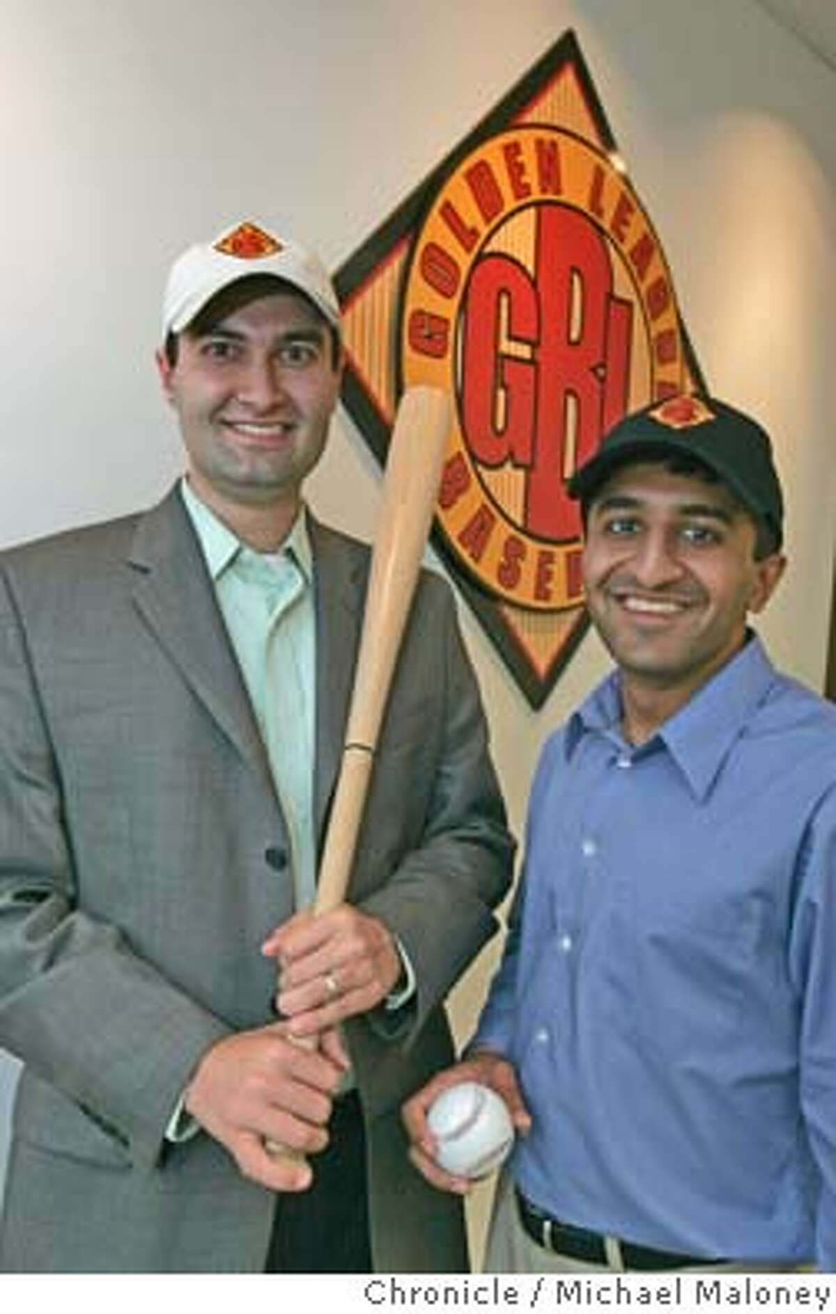 At left, David Kaval, Founder & CEO, right, Amit Patel, Founder and President of the new Pleasanton based Golden League. The Golden League is a new professional baseball league at the class-A level. The League will play a 90 game season in California and western Arizona starting in June 2005. Photo by Michael Maloney / San Francisco Chronicle