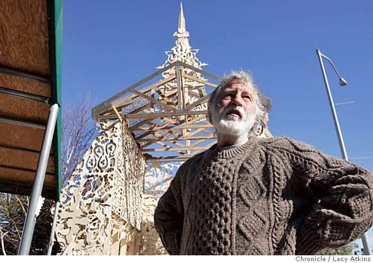 Artist David Best, whose Chapel was red tagged is takes about buiding the temple for the Day Laborers in the Cannel district of San Rafael, Tuesday Feb. 1, 2005. Petaluma artist David Best, well-known for his Burning Man temples, was commissioned to build a project by the San Rafael Arts Council. He started to build a Chapel of the Laborers for the day laborers in the Canal district and was about two-thirds finished when it got red-tagged by the city yesterday for not being up to building code LACY ATKINS/SAN FRANCISCO CHRONICLE