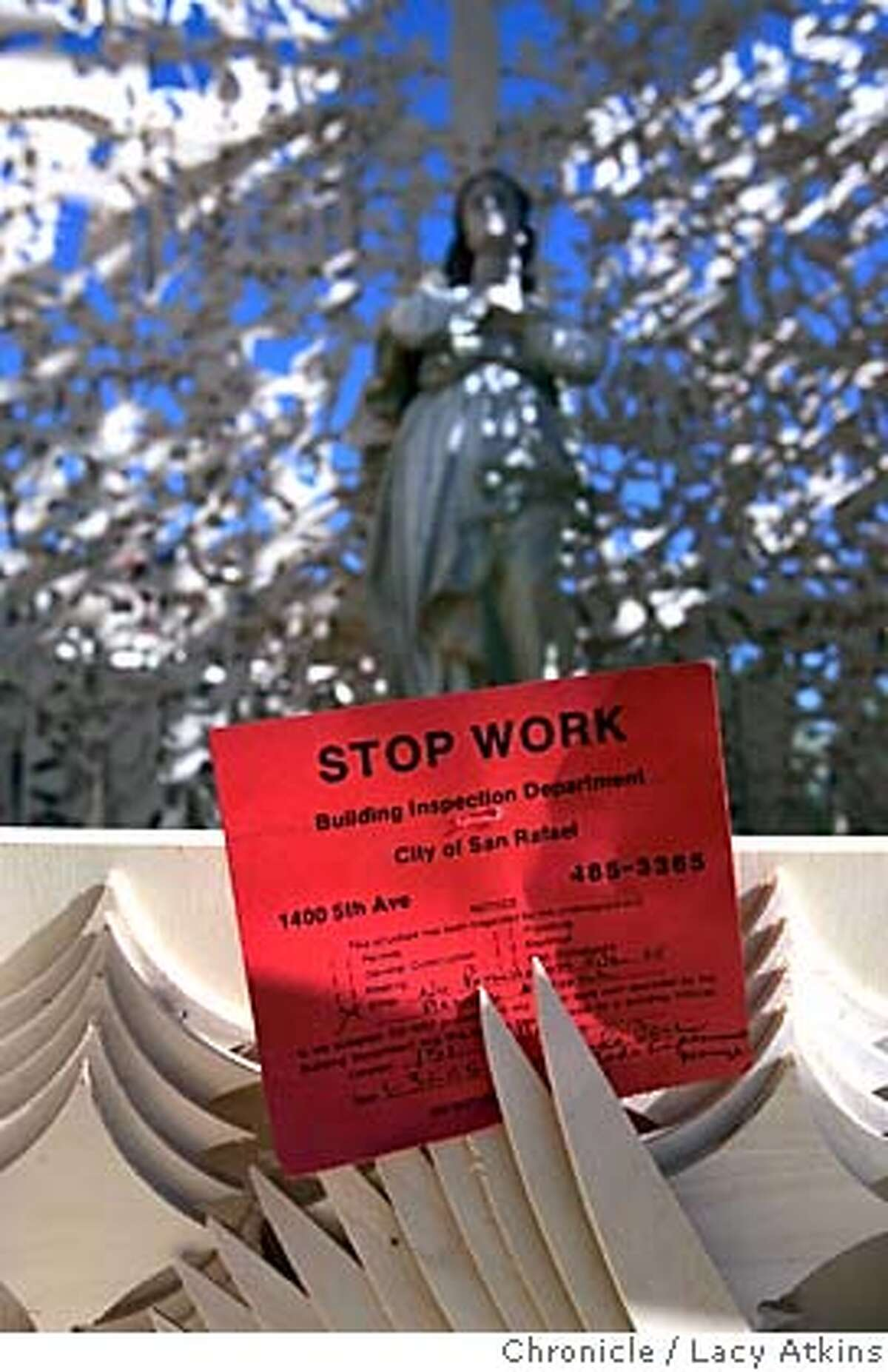 Stop Work was demained by the San Rafael Building Department of David Best's Chapel built for the day laborers in the Canel District, Tuesday Feb. 1, 2005. Petaluma artist David Best, well-known for his Burning Man temples, was commissioned to build a project by the San Rafael Arts Council. He started to build a Chapel of the Laborers for the day laborers in the Canal district and was about two-thirds finished when it got red-tagged by the city yesterday for not being up to building code LACY ATKINS/SAN FRANCISCO CHRONICLE