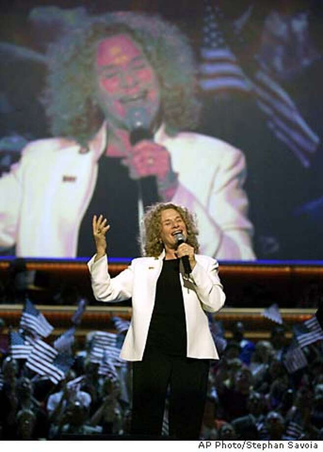 Carole King performs during the Democratic National Convention at the FleetCenter in Boston, Thursday, July 29, 2004. (AP Photo/Stephan Savoia) Photo: STEPHAN SAVOIA