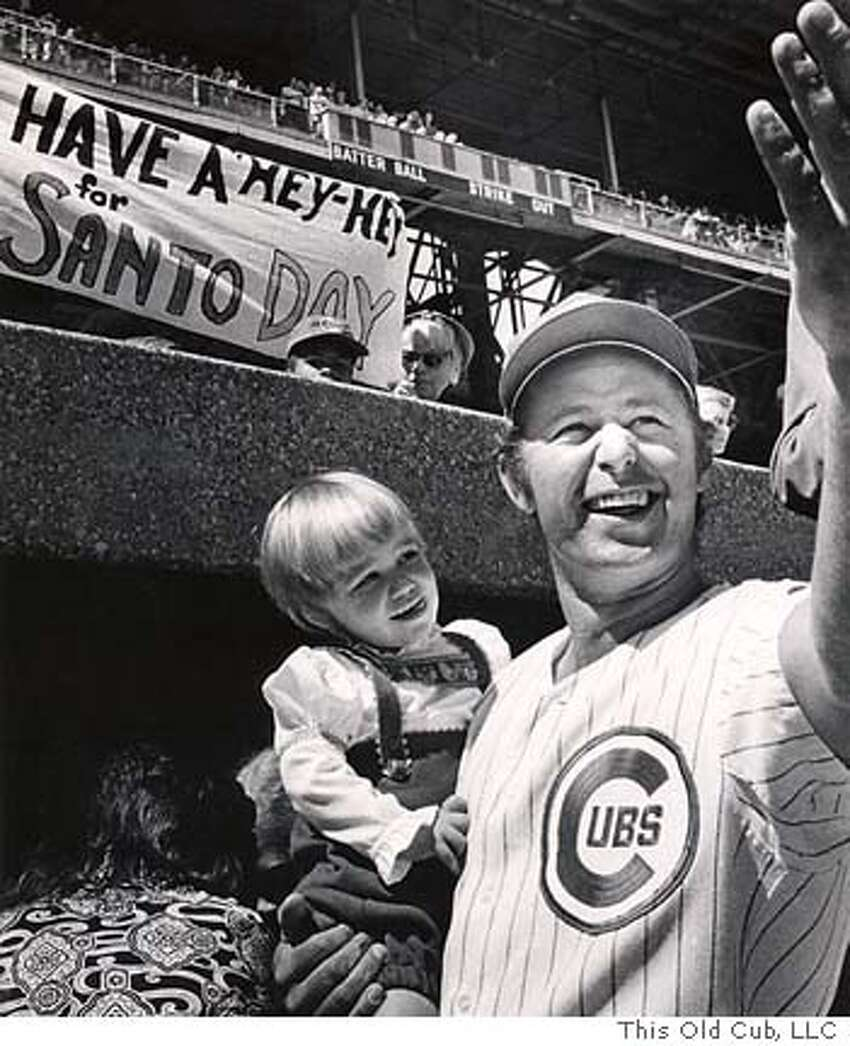 thisoldcub05.JPG Celebrating Ron Santo Day at Wrigley Field in 1971 with his daughter Linda, the day when Santo announced that he was a diabetic. copyright This Old Cub, LLC