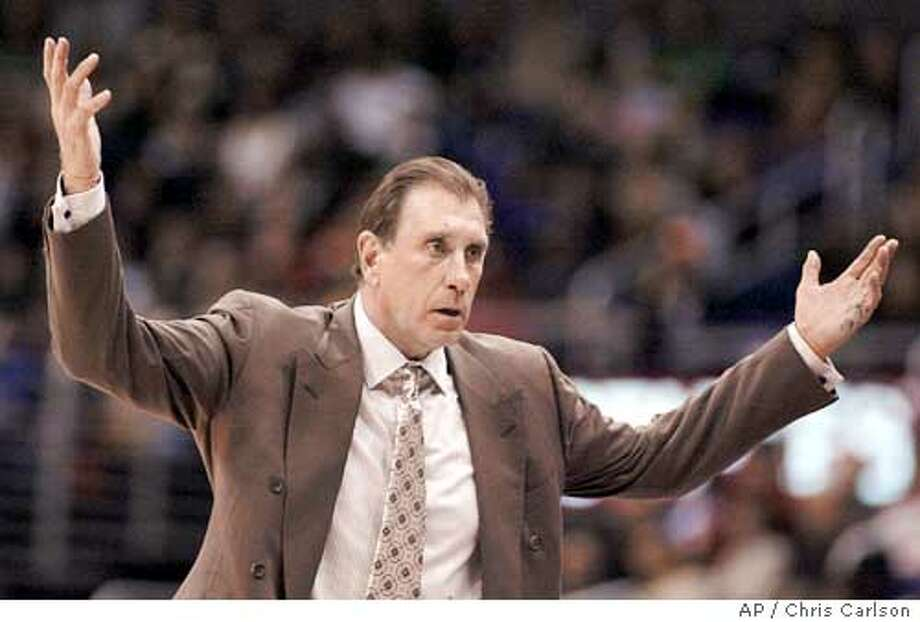 Los Angeles Lakers' coach Rudy Tomjanovich reacts an call during their game with the Los Angeles Clippers during the first half at the Staples Center in Los Angeles, on Wednesday, Jan. 26, 2005. (AP Photo/Chris Carlson) Photo: CHRIS CARLSON