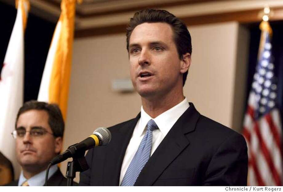 Gavin Newsom during a press conference at the San Francisco City Hall The high Court said that he did not have the authority to hand out marriage licenses to gay and lesbians .  The california supreme court hands down their decision on mayor gavin newsom's decision to allow same sex marriages in san francisco 8/12/04 in San Francisco,CA.  Kurt Rogers/The Chronicle Photo: Kurt Rogers