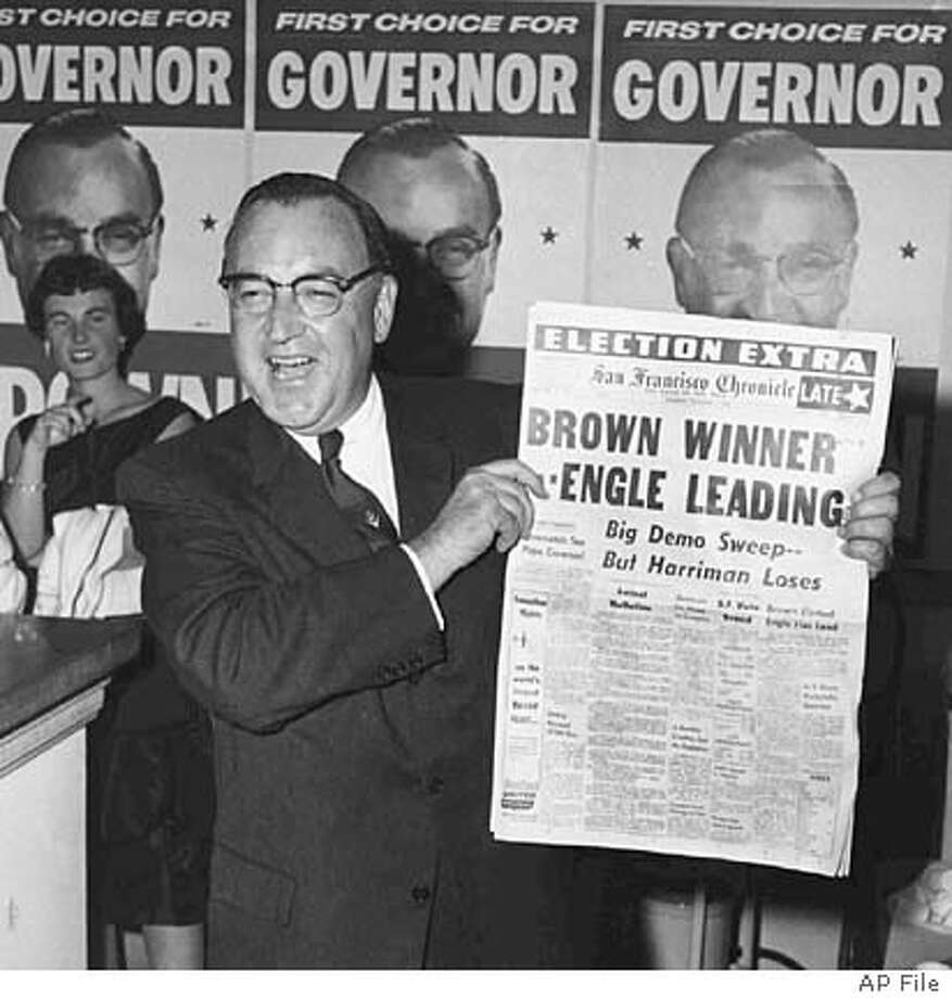 FILE--Governor-elect Edmund G. (Pat) Brown, holds up a local newspaper proclaiming his victory over Sen. William Knowland in the race for Calif. Gov. in this Nov. 5, 1958 photo. Brown died Friday, Feb. 16, 1996. He was 90. (AP Photo/File) NOV 5 1958 FILE PHOTO BLACK WHITE ONLY