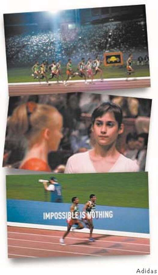 """Adidas Olympic ads, themed """"Impossible is nothing,"""" feature Haile Gebrselassie running against himself, and gymnast Nastia Liukin simultaneously performing Nadia Comaneci's perfect uneven bar routine. Photos courtesy of Adidas"""