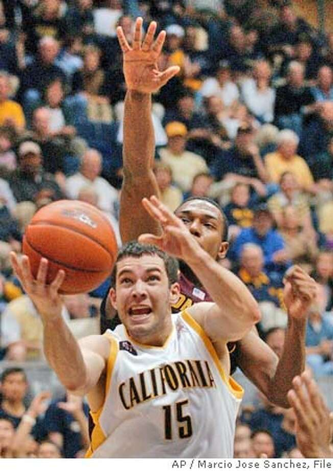 California's Richard Migley (15) drives past Arizona State's Jason Braxton during the second half in Berkeley, Calif., Saturday, Feb. 7, 2004. California won 85-83. (AP Photo/Marcio Jose Sanchez) Richard Midgley helps California hang on with 20 points -- all of which came in the second half. Richard Midgley helps California hang on with 20 points -- all of which came in the second half. Ran on: 11-09-2004  Point guard Ayinde Ubaka was disappointed in his freshman season and hopes to become better at the game's intangibles. Ran on: 11-09-2004  Point guard Ayinde Ubaka was disappointed in his freshman season and hopes to become better at the game's intangibles. Photo: MARCIO JOSE SANCHEZ