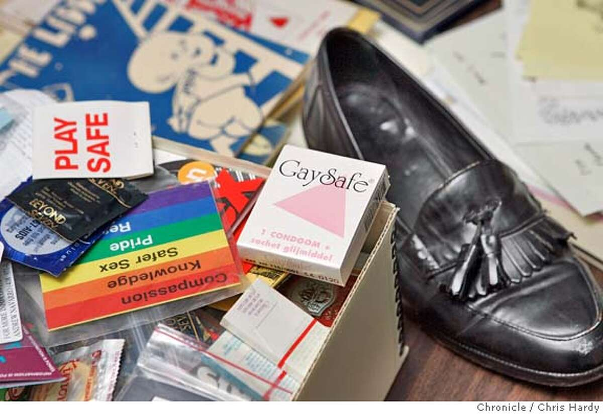 The GLBT Historical Society's archive of stuff: A shoe that once belonged to Frank Jordan. Old copies of the Ladder, the first national lesbian magazine. Handwritten correspondance between Elsa Gidlow and her lover Isabel Quallo The Koskovich condom collection in San Francisco,CA on1/24/05 San Francisco Chronicle/Chris Hardy