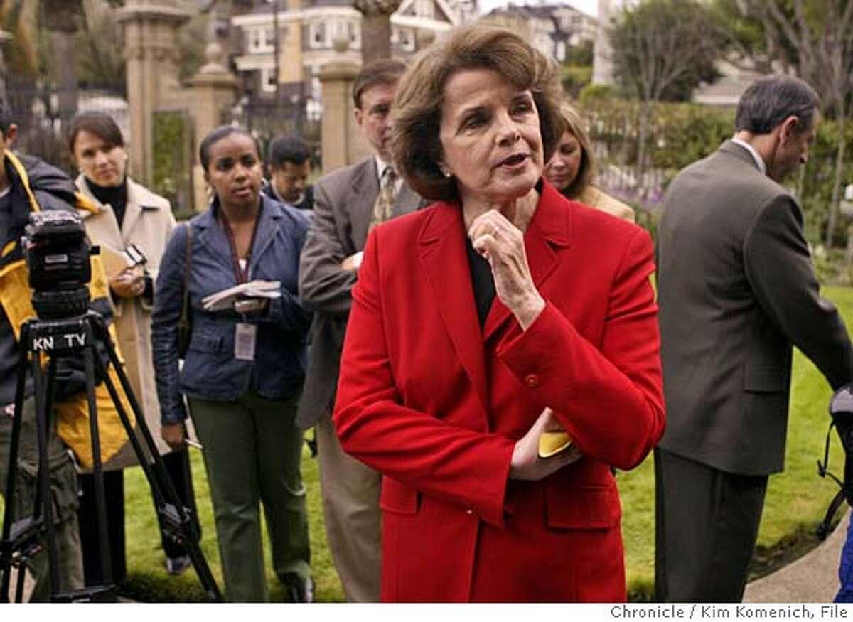 FEINSTEIN_087_kk.jpg Shortly after President Bush's victory speech, U.S. Senator Dianne Feinstein meets reporters outside her Presidio Terrace home. Photo by Kim Komenich in San Francisco. Ran on: 12-04-2004 Ran on: 12-04-2004