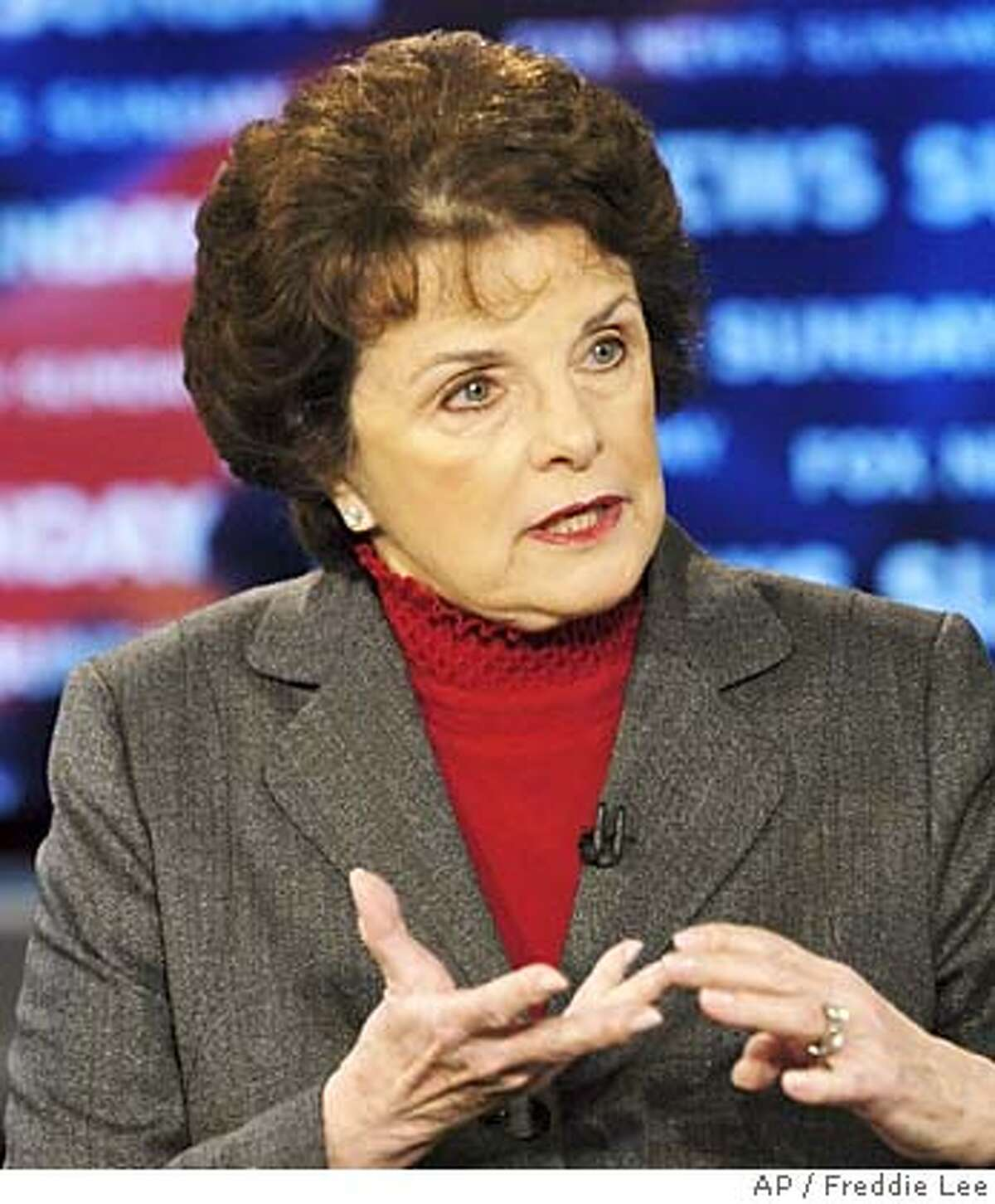 """In the photograph provided by FOX News Sunday, Sen. Dianne Feinstein, D-Calif. talks about the inaugural speech of President Bush and the upcoming Iraq elections during the taping of """"FOX News Sunday"""" at the FOX studios in Washington Sunday, Jan. 23, 2005. (AP Photo/FOX News Sunday, Freddie Lee) MANDATORY CREDIT: FREDDIE LEE, FOX NEWS SUNDAY, , NO ARCHIVES PHOTO PROVIDED BY FOX NEWS SUNDAY"""
