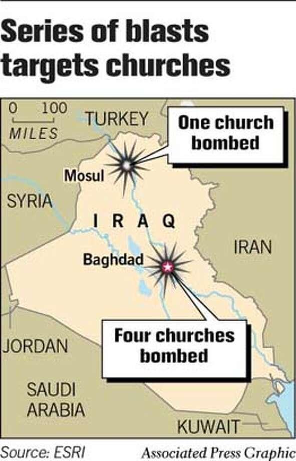 Series of Blasts Targets Churches. Associated Press Graphic Photo: Joe Shoulak