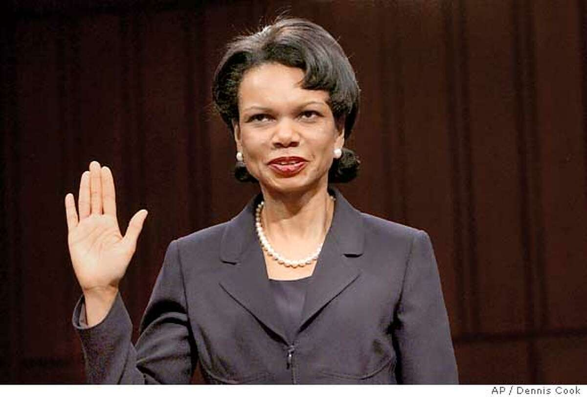 Secretary of State-designate Condoleezza Rice is sworn in on Capitol Hill Tuesday, Jan. 18, 2005 prior to testifying before the Senate Foreign Relations Committee hearing on her nomination. (AP Photo/Dennis Cook)