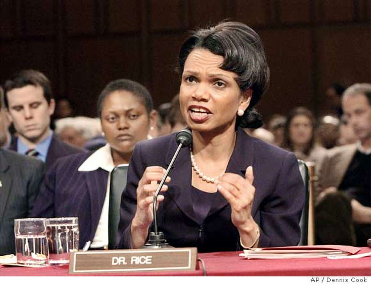 Secretary of State-designate Condoleezza Rice testifies on Capitol Hill Tuesday, Jan. 18, 2005 before the Senate Foreign Relations Committee hearing on her nomination. (AP Photo/Dennis Cook)