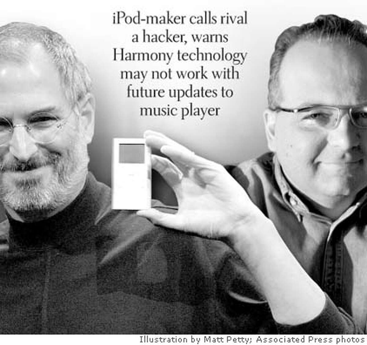 Apple CEO Steve Jobs, left. with his company�s iPod Mini. Right, digital music rival RealNetworks� CEO Rob Glaser. Chronicle illustration by Matt Petty; Associated Press photos