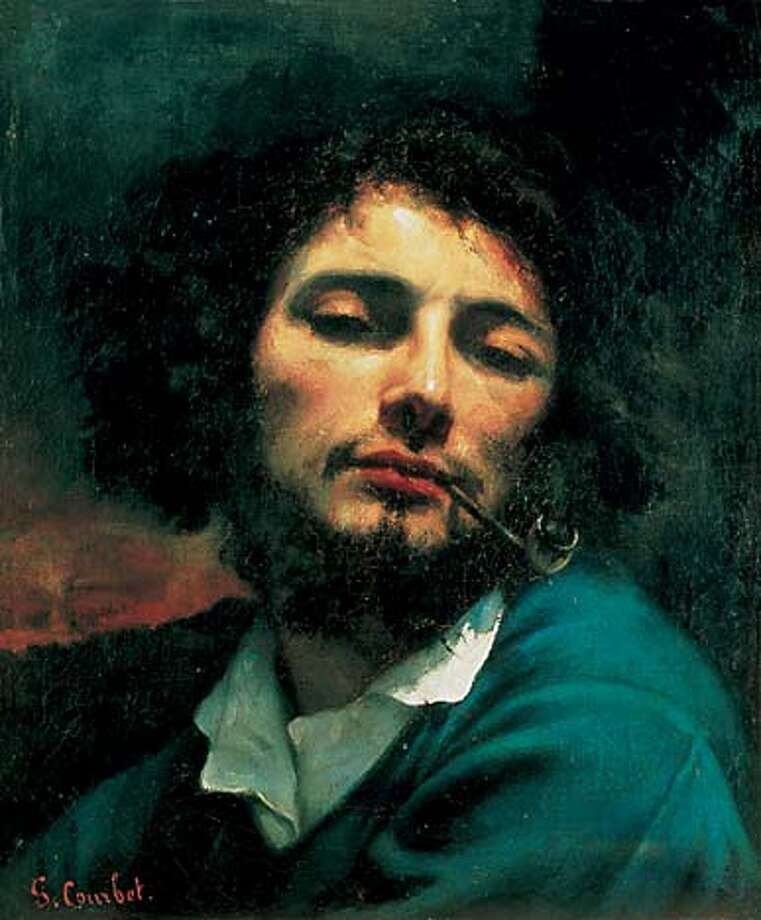 COURBET SELF PORTRAI  1. Gustave Courbet (French, 1819-1877)  Self-Portrait (Man with Pipe), 1846-47  Oil on canvas, 17-3/4 x 14-5/8 inches  Mus�e Fabre, Montpellier, Gift of Alfred Bruyas