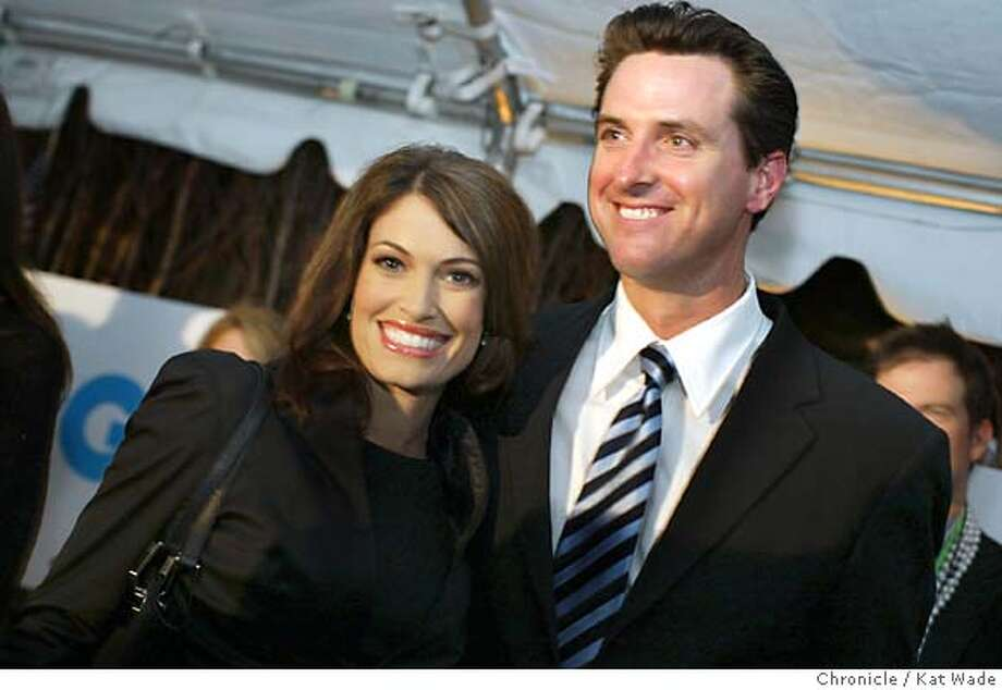 On 7/27/04 in Boston, MA San Francisco Mayor Gavin Newsom (right) and his wife KimberlyGuilfoyle Newsom arrive at the GQ Magazine party honoring the mayor at the Federalist Restaurant, at Fifteen Beacon Hotel after the second night of the Democratic National Convention.  The Chronicle/ Kat Wade Photo: Kat Wade