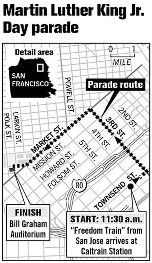 Martin Luther King Jr. Day Parade Route. Chronicle Graphic