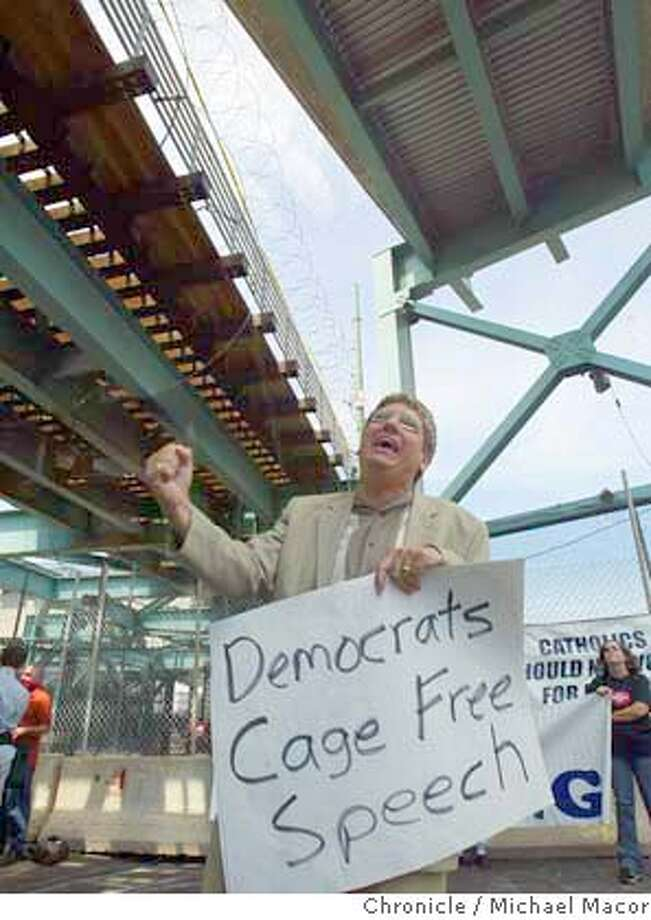 Randall Terry, founder of Operation Resue and is now the President of the Society for Truth and Justice protests the Free Speech area that is surrounder by razor wire and netting and is located under a freeway. The 2004 Democratic National convention. 7/26/04 in Boston Michael Macor/San Francisco Chronicle Photo: Michael Macor