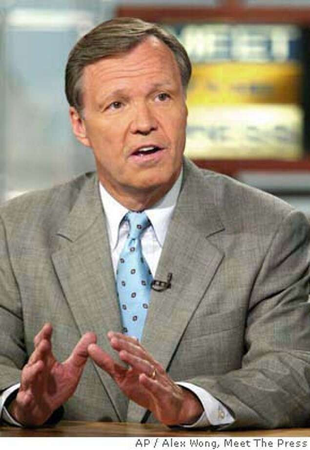"""Rep. Chris Cox, R-Calif., talks about terrorism issues during the taping of """"Meet the Press"""" at the NBC studios July 18, 2004, in Washington. (AP Photo, Meet The Press, Alex Wong) NO ARCHIVE MUST USE BEFORE JULY 25, 2004 MANDATORY CREDIT ALEX WONG """"MEET THE PRESS"""") Photo: ALEX WONG"""
