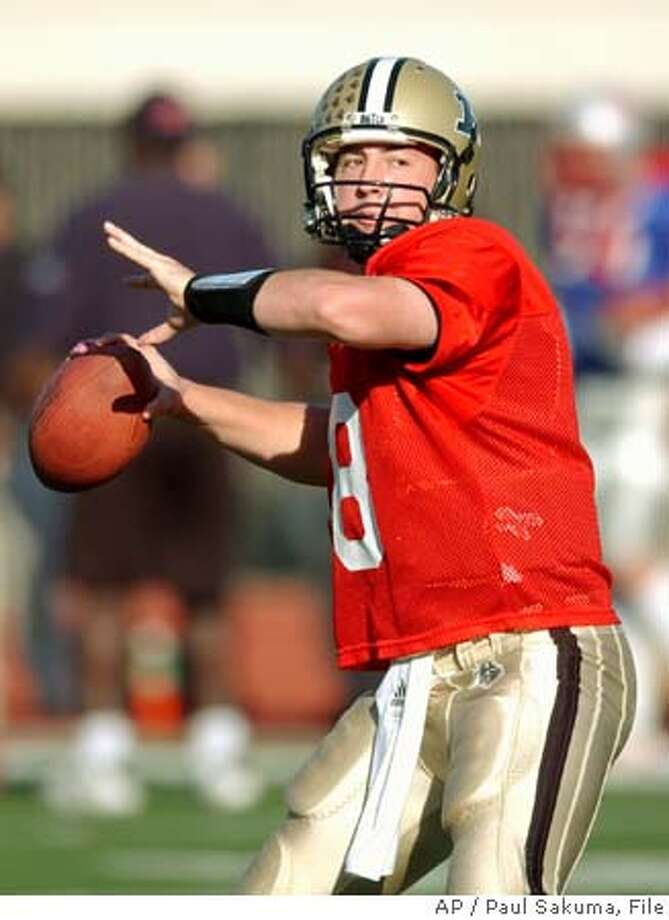 Purdue quarterback Kyle Orton, of the East Team, prepares to pass during practice for the Shrine Game in San Francisco, Wednesday, Jan. 12, 2005. The all-star game is Saturday in San Francisco. (AP Photo/Paul Sakuma) Photo: PAUL SAKUMA
