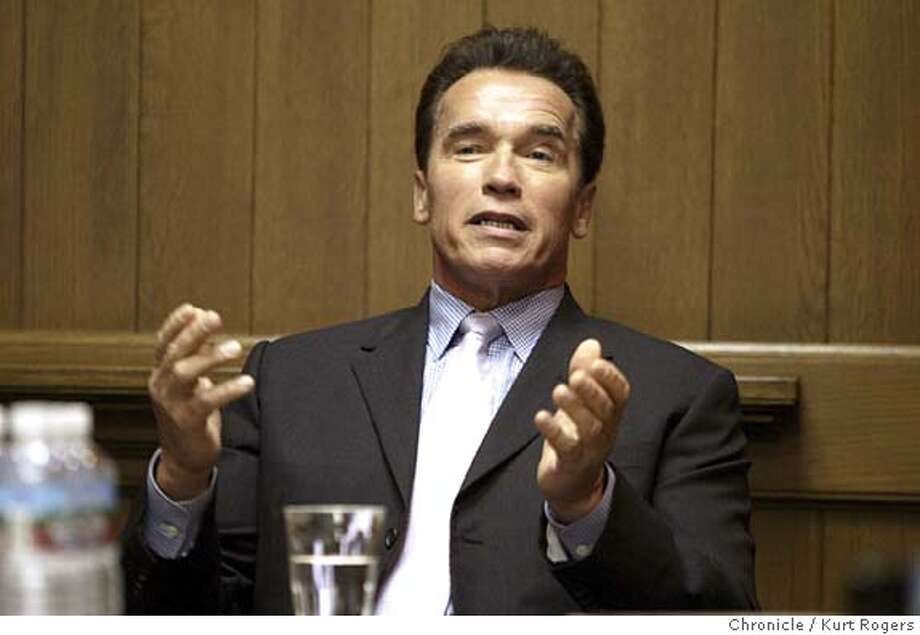 Gov. Arnold Schwarzenegger will met with The Chronicle's editorial board to talk about his priorities and proposals for the state, including appointing a panel of retired judges to redraw the legislation district lines, a budget that relies on spending cuts and no revenue increases other than continued borrowing, a plan to replace a salary schedule with merit pay for teachers; efforts to revamp the state's pension system. 1/14/05 in San Francisco,CA.  KURT ROGERS/THE CHRONICLE Photo: KURT ROGERS