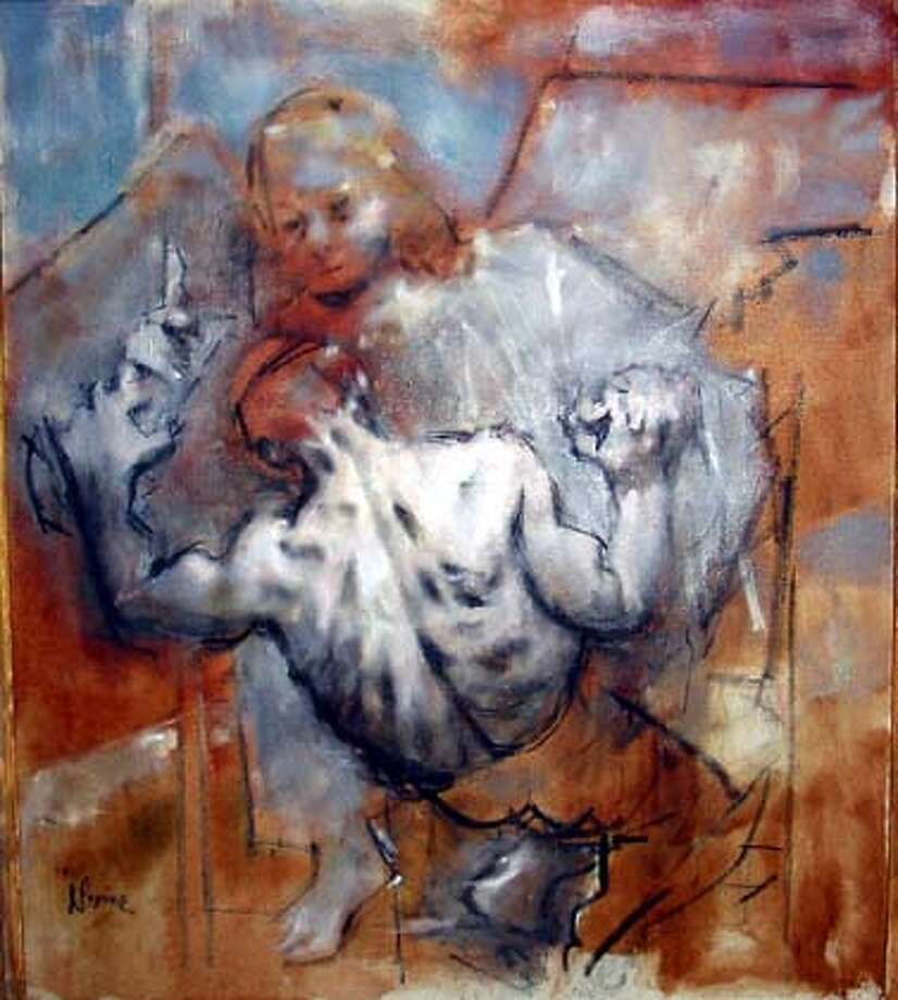 """""""Jacob Wrestling with the Angel"""", oil on canvas, 40 x 35 inches  by Jack Levine"""